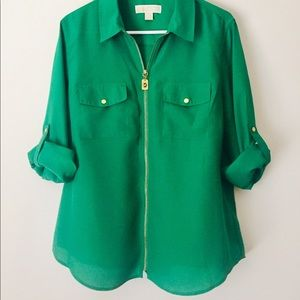 💯 Michael Kors Kelly Green Flowing Top Size XL